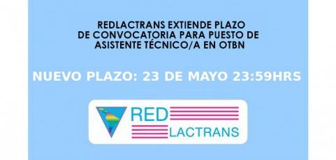 REDLACTRANS EXTIENDE EL PLAZO DE LA CONVOCATORIA PARA ASISTENTE/A TÉCNICO EN LA OTBN DE BELICE