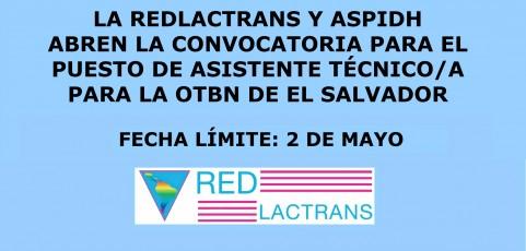 REDLACTRANS Y ASPIDH ABREN CONVOCATORIA PARA EL PUESTO DE ASISTENTE TÉCNICO/A