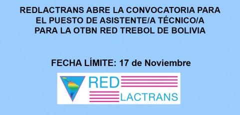 LA REDLACTRANS Y LA RED TREBOL DE BOLIVIA ABREN LA CONVOCATORIA PARA EL PUESTO DE ASISTENTE/A TÉCNICO/A