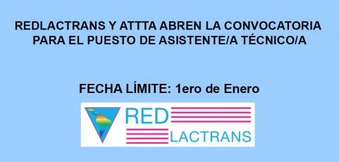 REDLACTRANS Y ATTTA ABREN LA CONVOCATORIA PARA EL PUESTO DE ASISTENTE TÉCNICO/A
