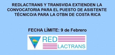 REDLACTRANS Y TRANSVIDA EXTIENDEN LA CONVOCATORIA PARA EL PUESTO DE ASISTENTE TÉCNICO/A