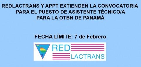 REDLACTRANS Y APPT EXTIENDEN LA CONVOCATORIA PARA EL PUESTO DE ASISTENTE TÉCNICO/A