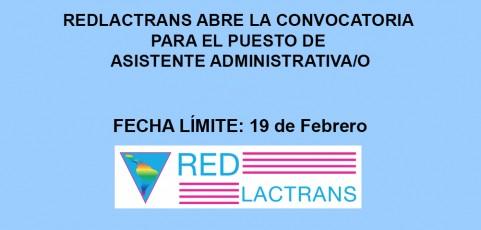 REDLACTRANS ABRE LA CONVOCATORIA PARA EL PUESTO DE ASISTENTE ADMINISTRATIVO/A